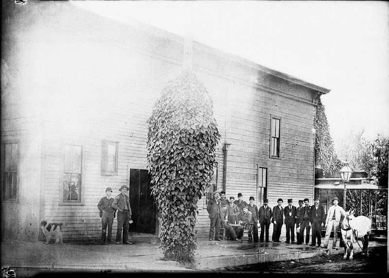 Group of men beside streetcar barns and office, southwest corner of Downey Avenue and Hancock Street, 1890