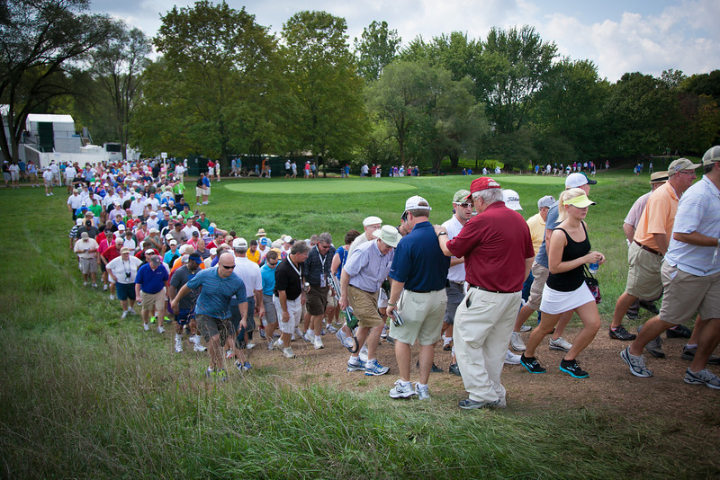 Crowds filling the course during first round action at the BMW Championship at Crooked Stick CC in Carmel Indiana on Thursday Sept. 6, 2012. (Charles Cherney/WGA)