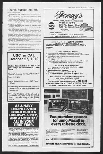 Daily Trojan, Vol. 87, No. 6, September 24, 1979