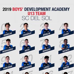 SC Del Sol Boys' DA 2019 U13 Team