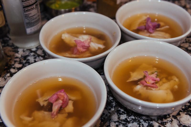 cod in dashi with burnt onion gel