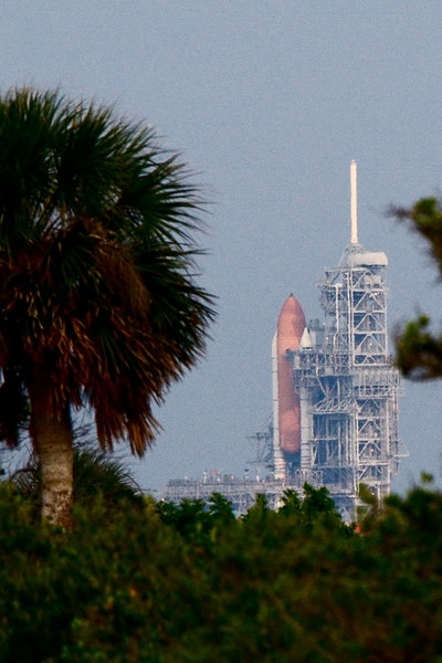 Space Shuttle seen from Bio Lab road