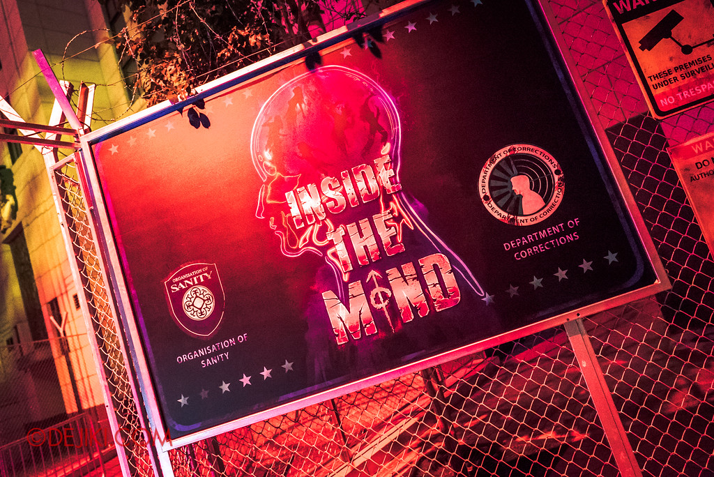 Halloween Horror Nights 7 - INSIDE THE MIND haunted house entrance signage