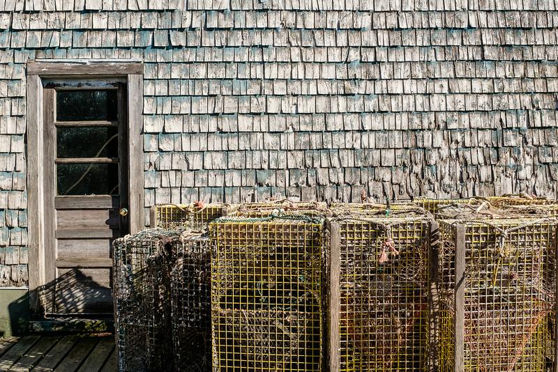 Lobster Pots and Cedar Shake Clad Building
