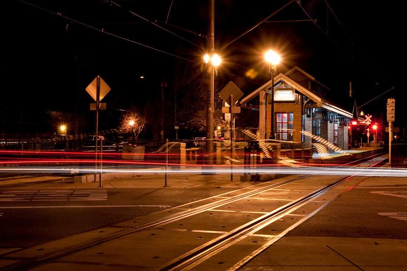 VTA light rail station at Campbell and car lights