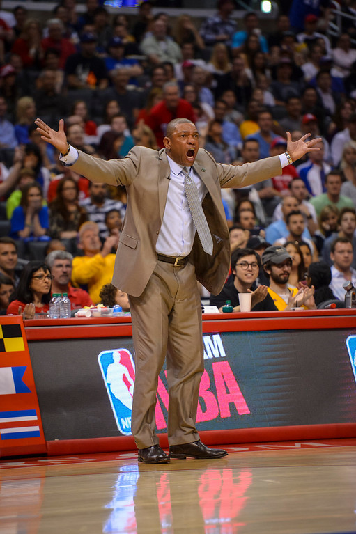 . Clippers coach Doc Rivers can\'t believe the Lakers didn\'t get a charging call during game action at Staples Center Sunday April 6, 2014. Clippers defeated the Lakers 120-97.  ( Photo by David Crane/Los Angeles Daily News )