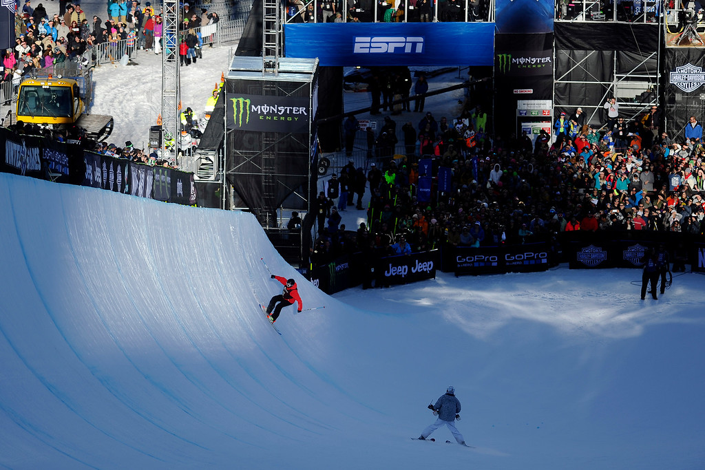 . ASPEN, CO. - JANUARY 25:  Gold medal winner Simon d\'Artois finishes his second run at the Ski Superpipe Men\'s Finals at Winter X Games 2015, Sunday, January 25. d\'Artois is the first Canadian to take gold in the superpipe at X Games.  (Photo By Mahala Gaylord/The Denver Post)