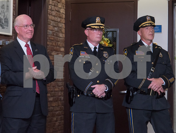 10/18/17 Wesley Bunnell | Staff Berlin held an official ceremony on Wednesday night for the incoming Chief of Police John Klett and Deputy Chief Chris Ciuci. Retiring Chief Paul Fitzgerald, incoming Chief John Klett and Deputy Chief Chris Ciuci.