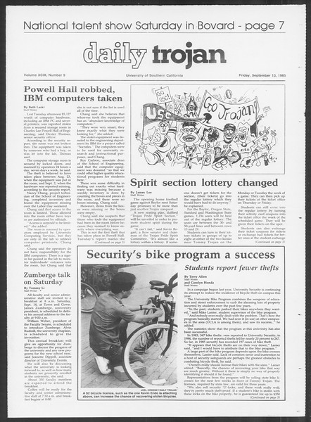 Daily Trojan, Vol. 100, No. 9, September 13, 1985