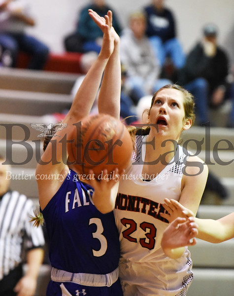 Harold Aughton/Butler Eagle: Moniteau's Aslyn Pry, #23, attempts a lay up against A.C. Valley's Rachel Cullen in the first quarter.