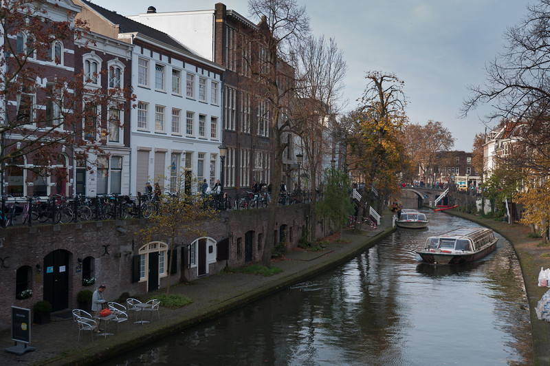 Oudegracht, the 'old canal' in central Utrecht, Netherlands