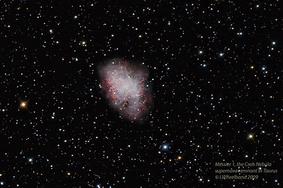 Messier 1, The Crab nebula supernova remnant in constellation Taurus