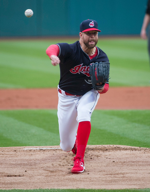. Cleveland Indians starting pitcher Corey Kluber delivers to a Chicago White Sox batter during the first inning of a baseball game in Cleveland, Friday, June 9, 2017. (AP Photo/Phil Long)
