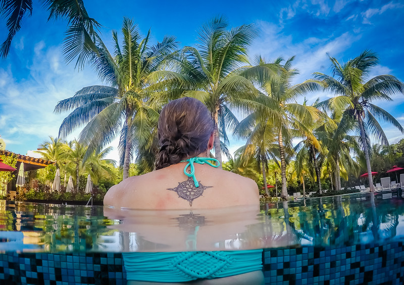 Enjoying a pool in Mexico