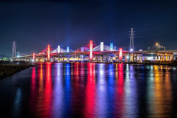 Pearl Harbor Memorial Bridge 9/11 lights