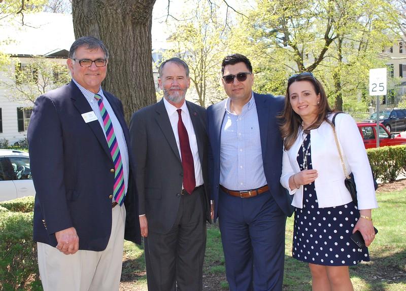 Ambassador John Evans with, from left to right, Daniel K. Dorian, Jr., Parish Council Chairman, and Arman and Armina Manoukian