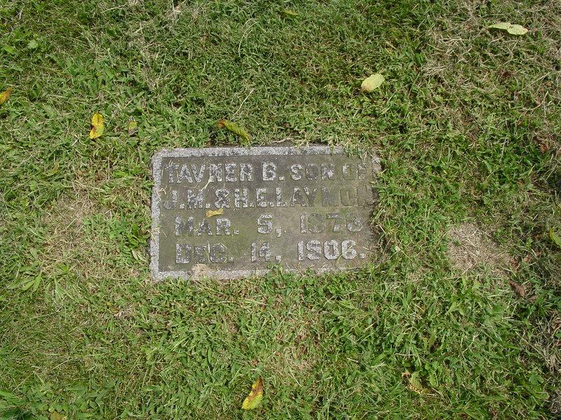 Tavner B. Laymon, son of James M. Laymon and Harriet Elizabeth (Fisher) Laymon Troutwine Cemetery, Lynchburg, Ohio