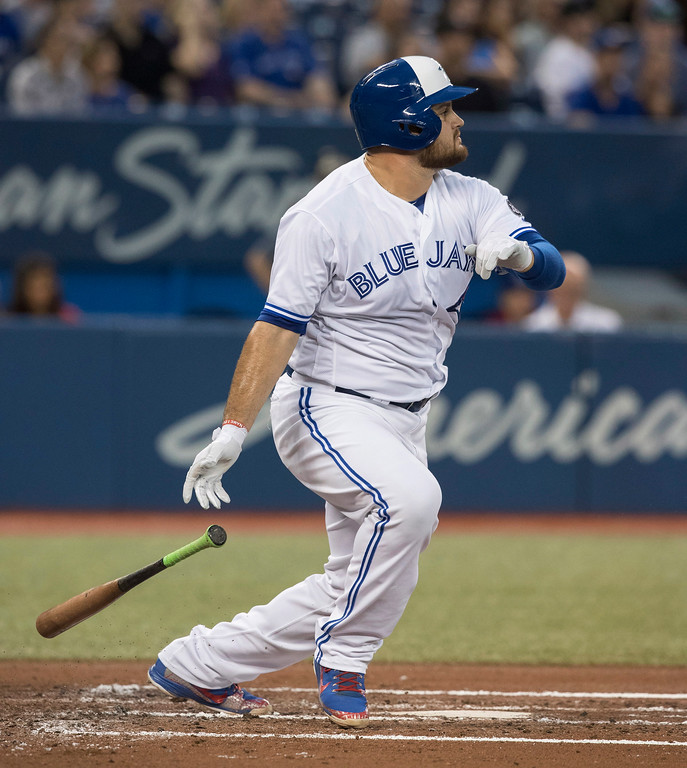 . Toronto Blue Jays\' Rowdy Tellez hits a double against the Cleveland Indians during the second inning of a baseball game Thursday, Sept. 6, 2018, in Toronto. (Fred Thornhill/The Canadian Press via AP)