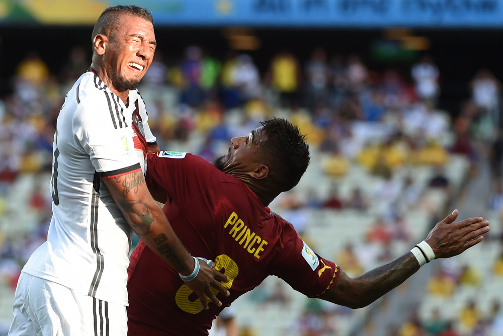 . Germany\'s defender Jerome Boateng (L) vies with Ghana\'s forward Kevin-Prince Boateng during a Group G football match between Germany and Ghana at the Castelao Stadium in Fortaleza during the 2014 FIFA World Cup on June 21, 2014.  (PATRIK STOLLARZ/AFP/Getty Images)