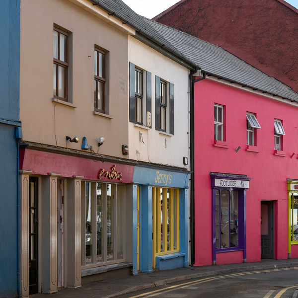 View of street and retail stores, Kinsale, County Cork, Ireland