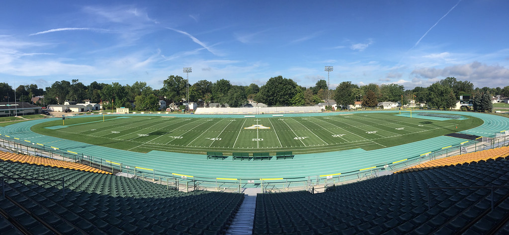 . A look at a painted Marion L. Steele Memorial Field ready for game day. (Chuck Grimmett - Amherst Exempted Village School District)