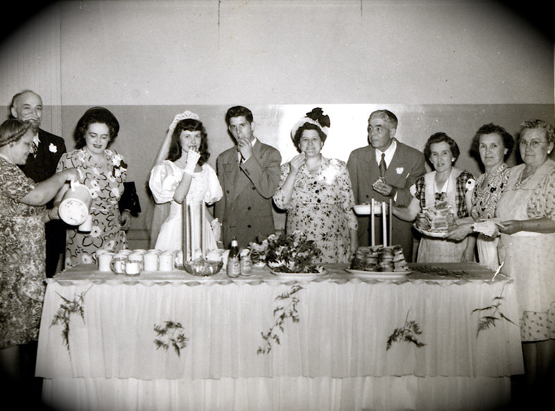 L to R: Back row, Charlie Rausch, Thelma Rausch(Dodie's adoptive parents), Dodie, Art, Sylvia Harwig, Art Harwig Sr. and 3 unknown ladies