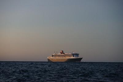 Queen Mary 2 in Akaroa Harbour
