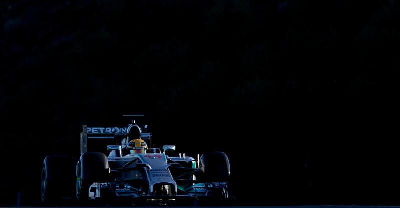 . Lewis Hamilton of Great Britain and Mercedes GP drives during the 2014 Formula One Testing at the Circuito de Jerez on Thursday, Jan. 30, 2014, in Jerez de la Frontera, Spain. (AP Photo/Miguel Angel Morenatti)