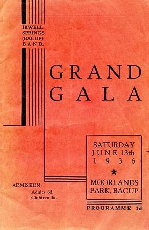 Bacup Irwell Springs Band Grand Gala, Sat. June 13th 1936