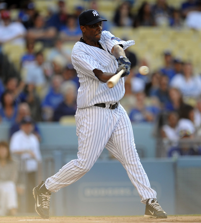 . Former New York Yankees pitcher Doc Gooden during the Old-Timers game prior to a baseball game between the Atlanta Braves and the Los Angeles Dodgers on Saturday, June 8, 2013 in Los Angeles.   (Keith Birmingham/Pasadena Star-News)