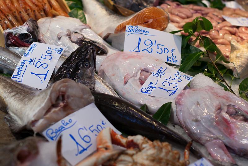 Fresh seafood at the market in San Sebastian, Spain