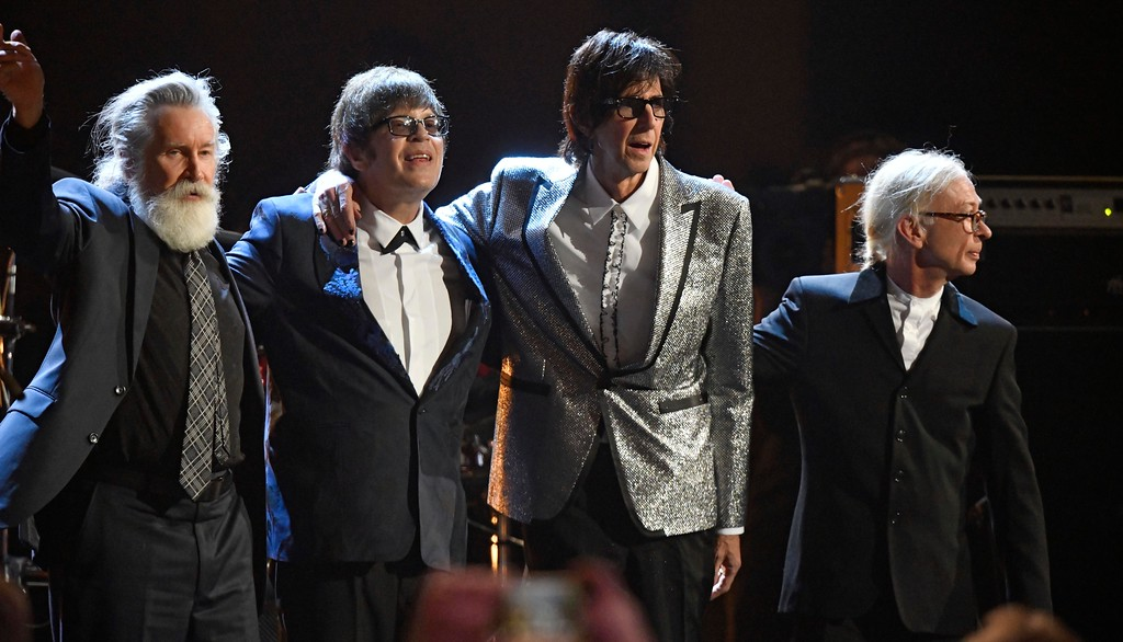 . Members of the Cars are honored after performing during the Rock and Roll Hall of Fame induction ceremony, Saturday, April 14, 2018, in Cleveland. (AP Photo/David Richard)