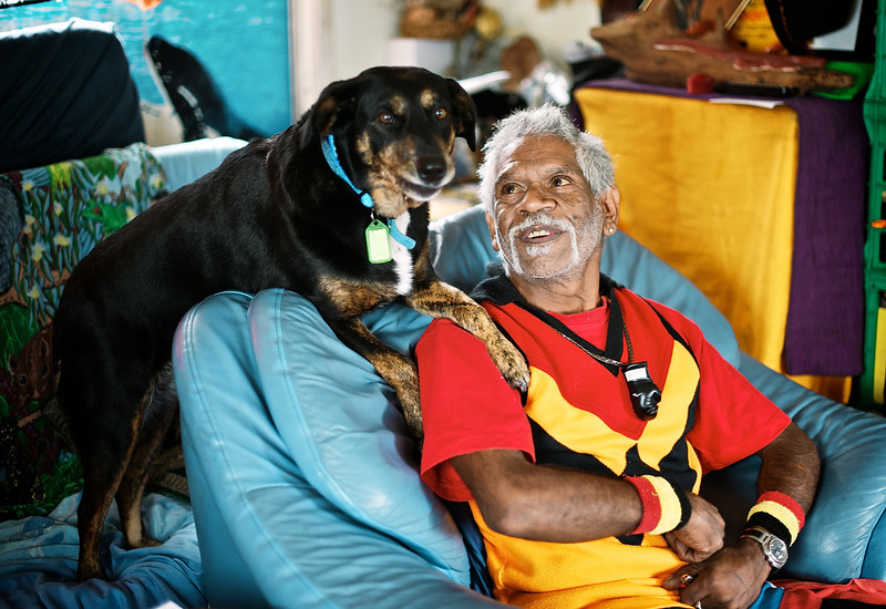 Wurundjeri Elder with his Dog in his Living Room