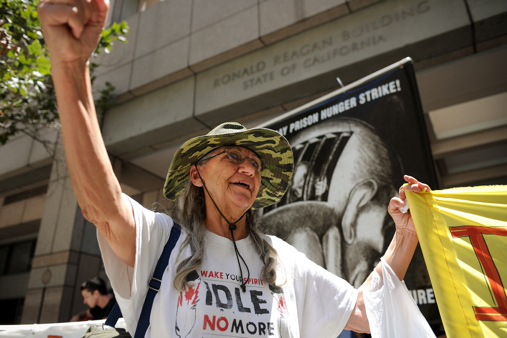 . Eleni Earth protests outside the Ronald Reagan State Building in downtown L.A. Monday, July 8, 2013, against solitary confinement in California prisons. (Michael Owen Baker/L.A. Daily News)