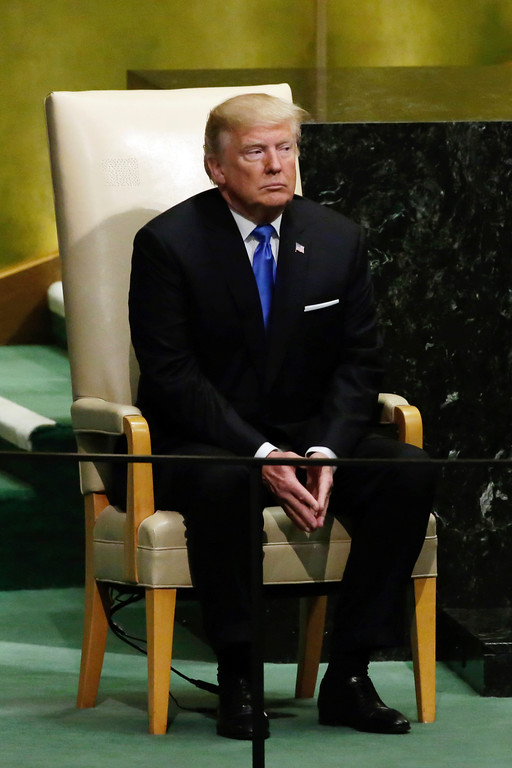 . U.S. President Donald Trump waits to address the 72nd session of the United Nations General Assembly, at U.N. headquarters, Tuesday, Sept. 19, 2017. (AP Photo/Richard Drew)