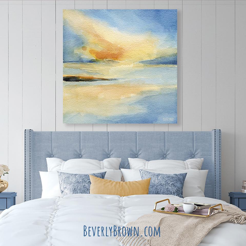 Sunset Seascape Canvas Art in Blue & White Bedroom