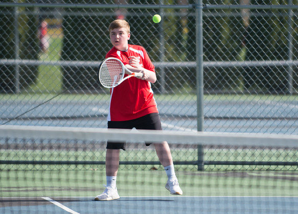 04/17/19 Wesley Bunnell | Staff Southington boys tennis hosted Berlin on Wednesday afternoon at Southington High School. Berlin's Justin Chyra.