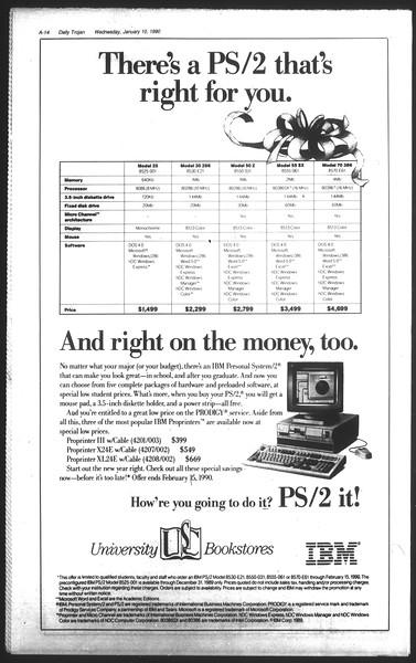 Daily Trojan, Vol. 111, No. 1, January 10, 1990