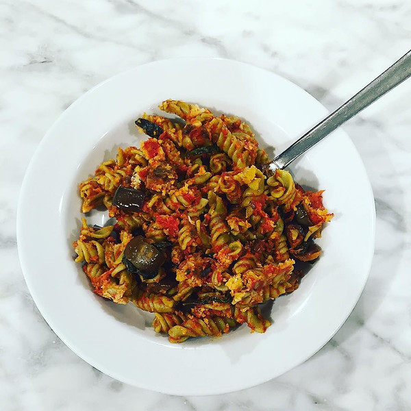 Baked_Rotini_with_Summer_Eggplant__San_Marzano_Tomatoes__Fresh_Basil__Buffalo_Mozzarella_and_Bread_Crumbs_from__coryvitiello_at__CatelliFamilies__supergreens_launch..jpg