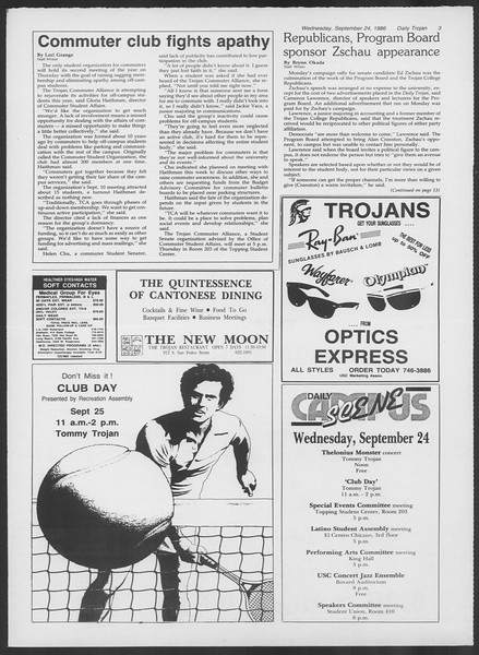 Daily Trojan, Vol. 102, No. 17, September 24, 1986