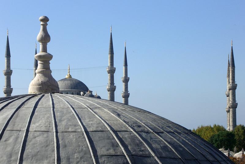 76. The six minarets of the Blue Mosque, seen from Hagia Sophia (Aya Sofya).