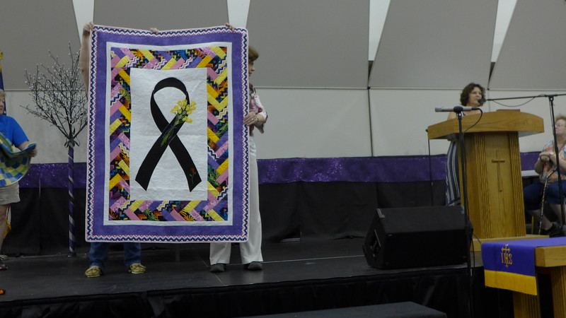 Ann Newall told us that she was a melonoma survivor and wanted to make a quilt to commerate her story.