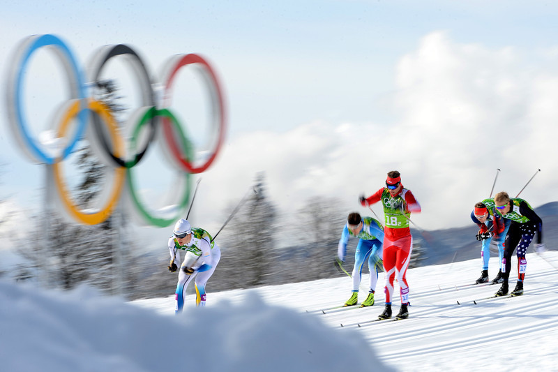 . Athletes compete in the Men\'s Team Sprint Classic Semifinals during day 12 of the 2014 Sochi Winter Olympics at Laura Cross-country Ski & Biathlon Center on February 19, 2014 in Sochi, Russia.  (Photo by Harry How/Getty Images)
