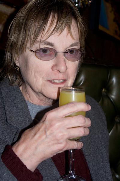 My mom enjoying a mimosa