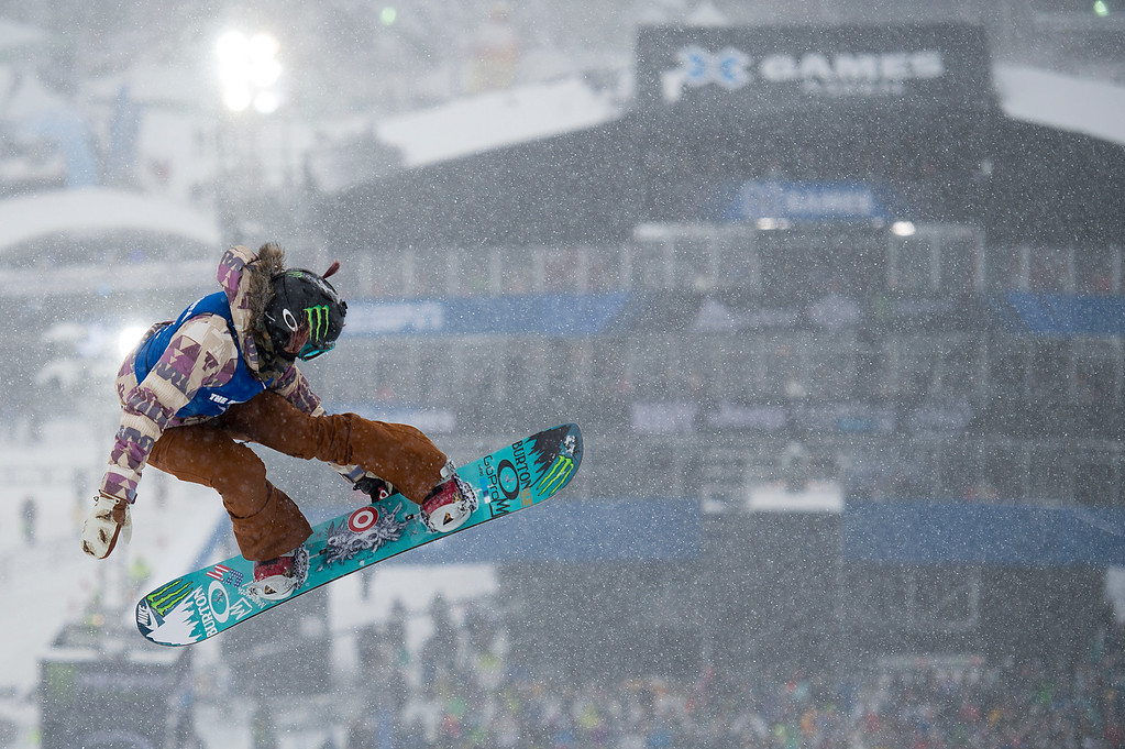 . ASPEN, CO - JANUARY 31: Chloe Kim takes off during her second run of the women\'s snowboard halfpipe at Winter X Games 2016 Aspen at Buttermilk Mountain on January 31, 2016, in Aspen, Colorado. Kim won the gold medal for the second straight year. (Photo by Daniel Petty/The Denver Post)