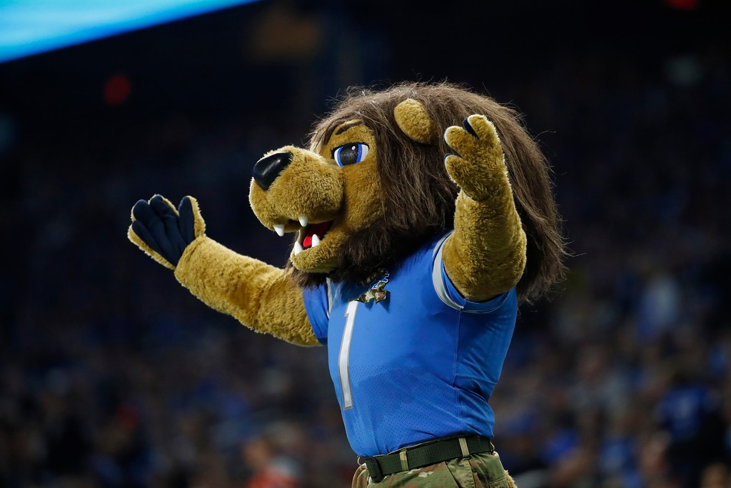 . Roary, the Detroit Lions mascot rallies the crowd during the first half of an NFL football game against the Cleveland Browns, Sunday, Nov. 12, 2017, in Detroit. (AP Photo/Rick Osentoski)
