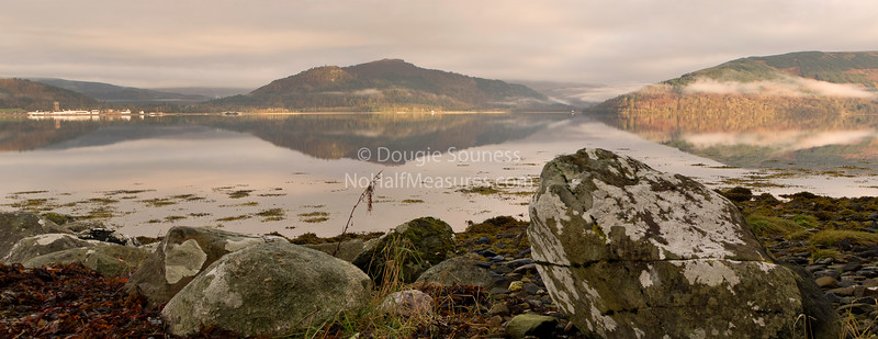 'Loch Fyne' - looking across a calm Loch Fyne towards Inveraray. Argyll, Scotland