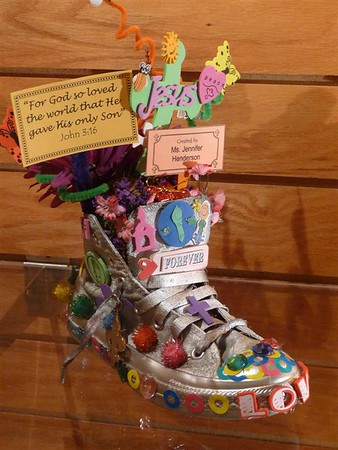 Walking Through the Bible Shoe Art by Dawson Weekday's 4 Year Olds - Feb. 2009