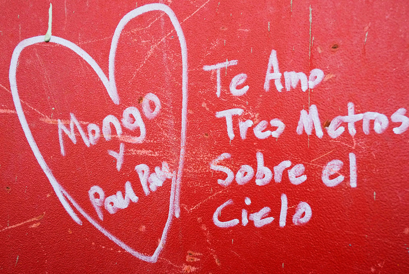 . This Jan. 15, 2013 photo shows Spanish graffiti left by a worker on a steel column on the 104th floor of One World Trade Center in New York. Construction workers finishing New York\'s tallest building at the World Trade Center are leaving their personal marks on the concrete and steel in the form of graffiti. (AP Photo/Mark Lennihan)