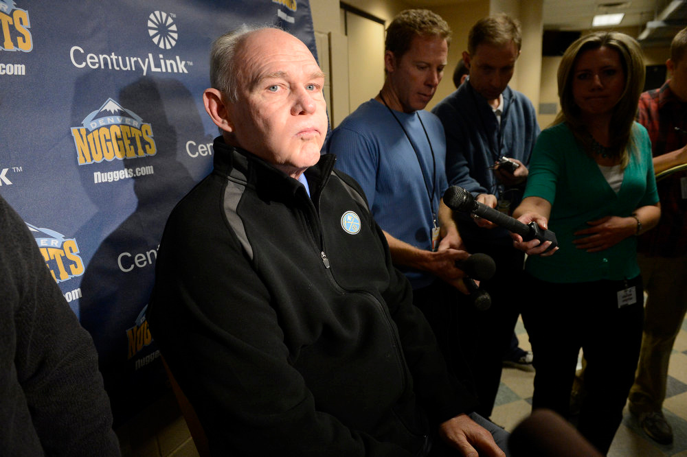 . Denver Nuggets head coach, George Karl, takes a deep breath before answering questions during a press conference at the Pepsi Center, Friday May 3, 2013. The Nuggets season ended Thursday, May 2, 2013 after losing game six of the first round of the NBA playoffs at Golden State 92-88. (Photo By Andy Cross/The Denver Post)